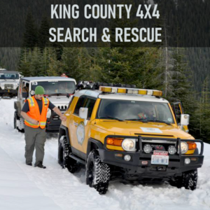 King County 4X4 Search & Rescue's primary mission is to provide transportation to other search and rescue organizations by using all-wheel drive vehicles to negotiate terrain that conventional vehicles cannot. This unit is also equipped to conduct night road searches, traffic control, radio relay and other logistical support functions.
