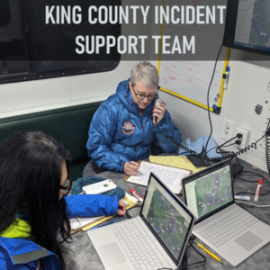 King County Incident Support Team (IST) provides Incident Command System expertise for incident management, planning, logistics, administration, and communications at search and rescue missions and large scale special events in King County. Because our training is of an all-hazards nature, we maintain capability to support other types of incidents if deployed.