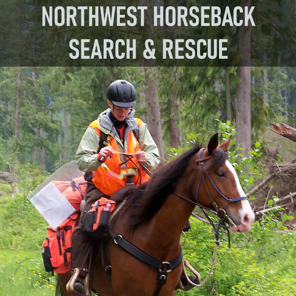 Northwest Horseback Search and Rescue (NWHSAR) members are qualified horse owners who volunteer their time as a horse-and-rider team to aid in the search for lost, injured, or missing people. Teams also assist in transporting equipment, such as medical supplies, litters, and radios. Volunteers are equipped to transport people to safety either by litter or on horseback.