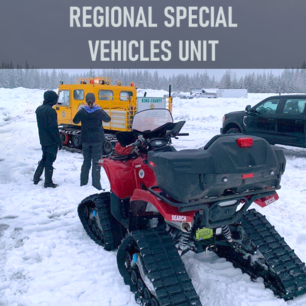 Regional Special Vehicle Unit (RSVU) specializes in mobile search and rescue operations in terrain that would not be passable by conventional vehicles. With roots in mobile, mountain and ground searches, RSVU has a team of rescuers, communications, and wilderness specialists who assist in active rescue, search and/or recovery missions.